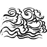 Ink wavy texture. Dry brush sea pattern. Ocean waves painting background. Vector illustration. Hand drawn black and. White artwork Royalty Free Stock Photography