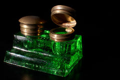 Ink well. Vintage crystal  ink well with copper lid Royalty Free Stock Photo