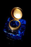 Ink well. Vintage crystal  ink well with copper lid Royalty Free Stock Photography