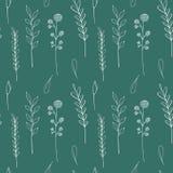 Ink wildflowers seamless pattern. Hand drawn poppy, burdock, wheat, grass, wild rose, chamomile, cornflower, geranium vector illustration