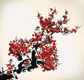 Ink winter sweet. Chinese ink paint of wintersweet Royalty Free Stock Images