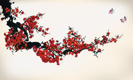 Ink winter sweet. Chinese ink paint of wintersweet Stock Photo