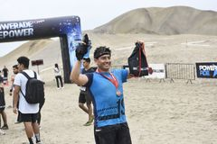 Inka Challenge, een extreme die hindernis op een strandzuiden opnieuw wordt gewekt van Lima stock fotografie