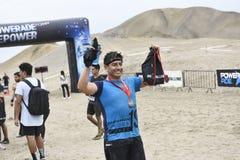 Inka Challenge, um obstáculo extremo reawakened em uma praia ao sul de Lima fotografia de stock