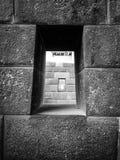 Inka-Steinmetzarbeit mit Fenstern Stockfotografie