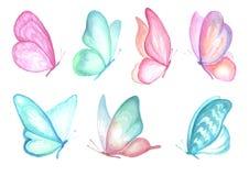 Inkasowa akwarela latający motyle Zdjęcia Royalty Free