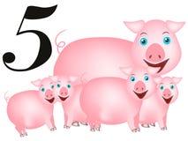 Inkasowa liczba dla dzieciaków: zwierzęcia gospodarstwo rolne - liczba pięć, świnie Fotografia Stock
