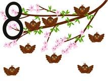Inkasowa liczba dla dzieciaków zwierząt ptaków - numerowi osiem, wróble Obraz Stock