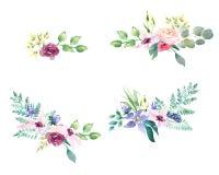 Inkasowa wiosna Poślubia romanric akwarela bukiet Wręcza rysunkowego akwareli błękita purpur i menchii kwiatów ornament ilustracji