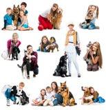 Inkasowe fotografie dzieci i pies Zdjęcia Stock