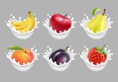 Inkasowe ikony owoc i jagody w dojnym pluśnięciu 3d wektoru set Obrazy Royalty Free