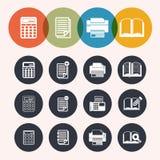 Inkasowe okrąg serii ikony, kalkulator, notepad, druk, książka Obrazy Stock
