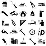 Inkasowe płaskie ikony. Budowa symbole. ilustracja wektor
