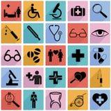 Inkasowe płaskie ikony z długim cieniem. Medycyna ilustracja wektor