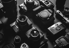 Inkasowego rocznika Ekranowych I Cyfrowych kamer Odgórny widok Czarny I Biały Zdjęcia Royalty Free