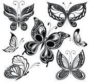 Inkasowi czarny i biały motyle. Tatuażu des ilustracja wektor
