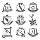 Inkasowy loga zakład fryzjerski Zdjęcia Royalty Free