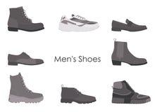 Inkasowy mężczyzny obuwie odizolowywający na białym tle Set mężczyzn buty ilustracji