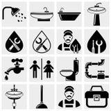 Instalaci wodnokanalizacyjnej i łazienki wektorowe ikony ustawiać Obraz Stock