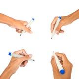 Inkasowy ręki writing na bielu odizolowywającym Fotografia Royalty Free