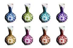 Inkasowy ustawiający Colourful Porcelanowy artykuły kwiat malował wazę royalty ilustracja