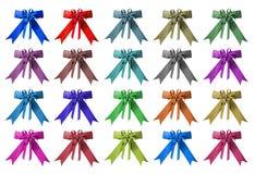 Inkasowy ustawiający kolorowy tasiemkowy łęku odosobnienie Zdjęcia Stock