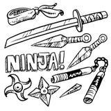 Inkasowy ustawiający ninja bronie, rysujący na białym tle ilustracji