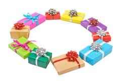 Inkasowy ustawiający rzędu prezenta kolorowi pudełka Zdjęcie Stock