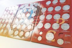 Inkasowy ustawiający rzadkie monety sowieci - zjednoczenie fotografia stock