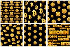 Inkasowych bezszwowych wzorów Bitcoin Złociste monety na czarnym tle Cyfrowego interneta waluta ilustracji