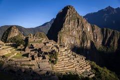 Inkastadt Machu Picchu, Peru bei Sonnenaufgang lizenzfreies stockbild