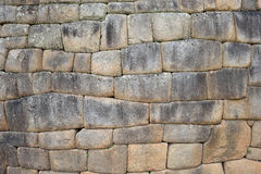 Inkawand im Dorf Machu-Picchu stockbild