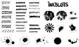 Inkblots, brushes, spots and patterns in vector Stock Photography