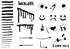 Inkblots, brushes, spots and patterns in vector Royalty Free Stock Image