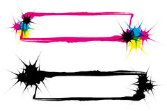 Inkblots frames CMYK and silhouette. Two abstract inkblot frames in CMYK with transparency royalty free illustration