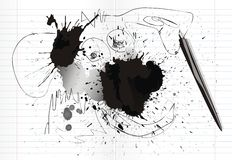 Inkblots and scrawl Stock Photography