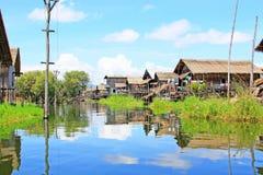 Inke Lake Tall House Village, Myanmar Royalty Free Stock Images