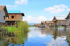 Inke Lake Tall House Village, Myanmar Stock Images