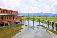 Inke Lake Tall House Village, Myanmar Royalty Free Stock Image