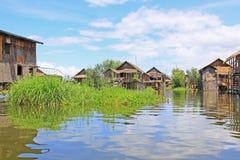 Inke Lake Tall House Village, Myanmar Stock Image