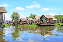 Inke Lake Tall House Village, Myanmar Royalty Free Stock Photography