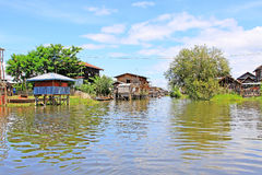 Inke Lake Tall House Village, Myanmar. Inle Lake is a freshwater lake located in the Nyaungshwe Township of Taunggyi District of Shan State It is the second Royalty Free Stock Photo