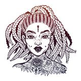 Inked African American pretty confident girl. Black woman decorative neck flash tattoo. Attractive woman portrait with hair made in braided style, beautiful royalty free illustration