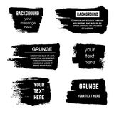 Inked black paint brushed rectangle boxes and frames vector stock. Brushed rectangle for text message, illustration of creative messy brushed shape Royalty Free Stock Photos