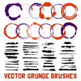 Inked Circle Brush Styles Set. Grunge inked circle and line scuffed black and color brush styles with text set  vector illustration Stock Photo
