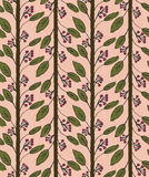 Inked rowan with leaves on pink. Hand drawn with ink and colored with marker brush seamless background.Creative hand made brushed design Royalty Free Stock Photos