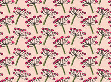 Inked rowan on pink. Hand drawn with ink and colored with marker brush seamless background.Creative hand made brushed design Royalty Free Stock Images