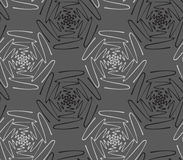 Inked scribble flowers gray. Hand drawn with ink seamless background Royalty Free Stock Image