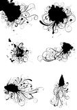 Inked spot and swirls. Set of inky grunge floral splash designs.Each of them group Royalty Free Stock Image