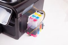 Inkjet cartridge. Printer on white background stock images